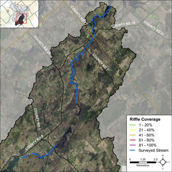 Figure 27 Riffle habitat locations along Irish Creek
