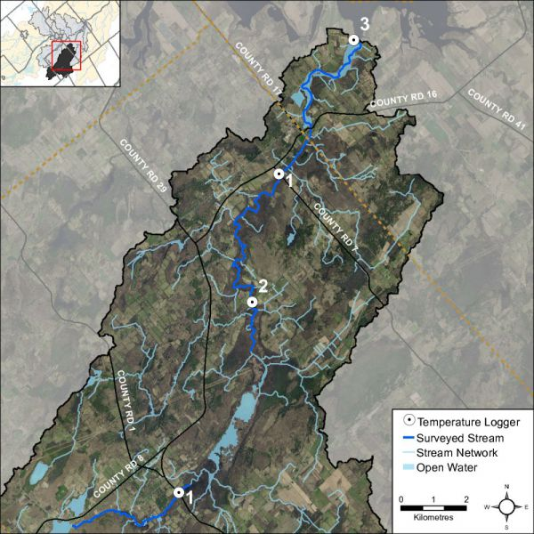Figure 36 Temperature logger locations on Irish Creek and Marshalls Creek