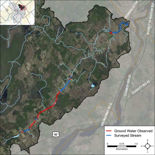 Figure 42 Groundwater indicators observed in the Rideau Creek catchment