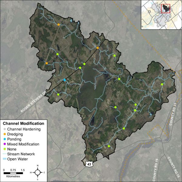 Figure 46 Headwater feature channel modifications in the Rideau Creek catchment