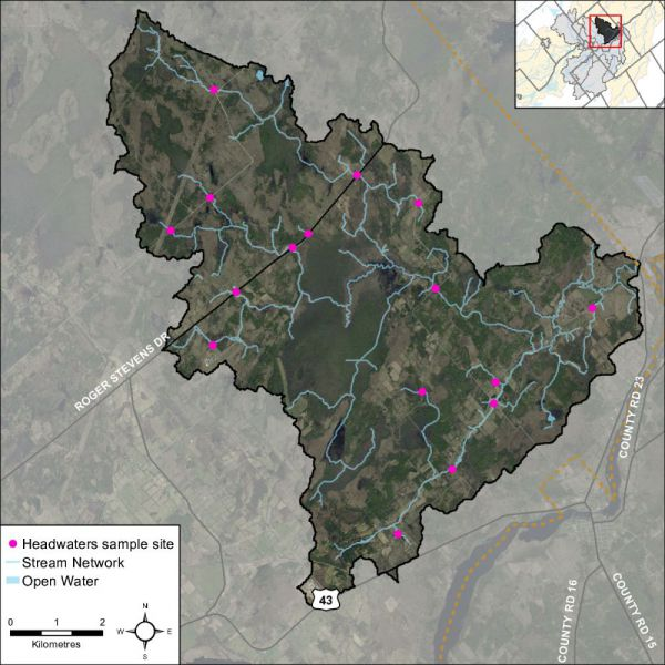 Figure 43 Locations of the headwater sampling sites in the Rideau Creek catchment