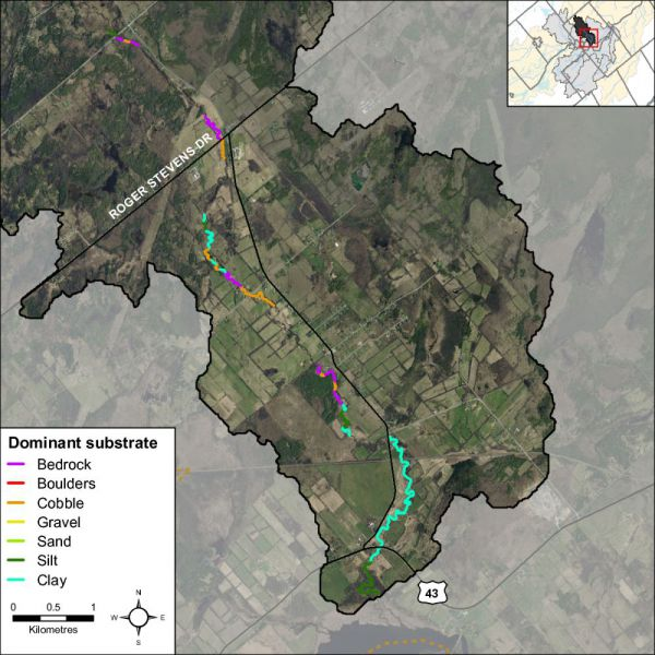 Figure 29 shows the dominant substrate type along Rosedale Creek.