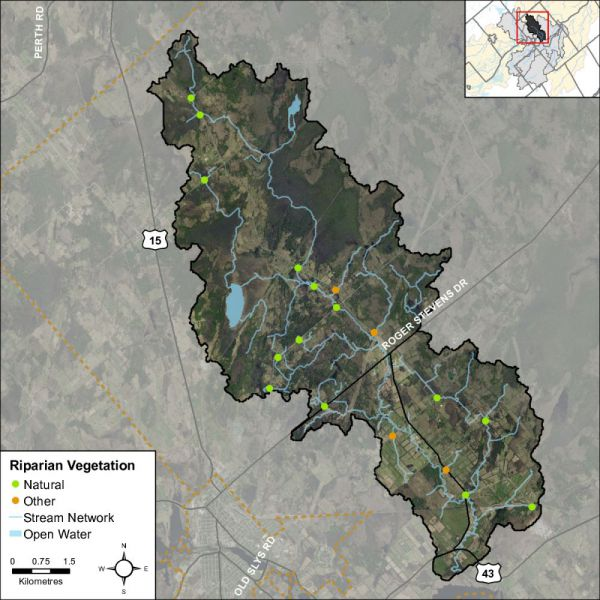Figure 48 Headwater feature riparian vegetation types in the Rosedale Creek catchment