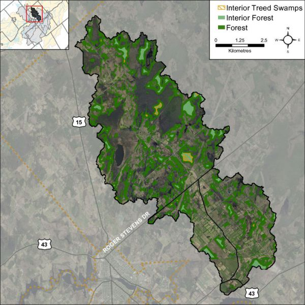 Figure 34 Woodland cover and forest interior (2014)