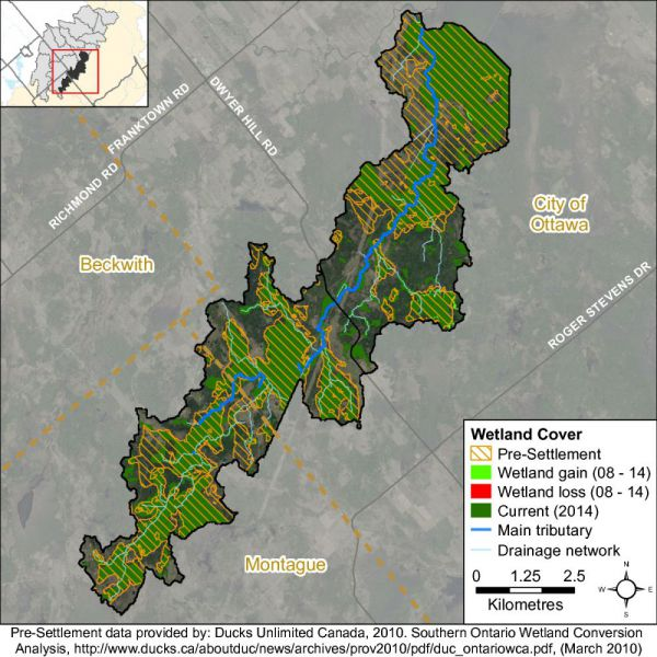 Figure xx Nichols Creek catchment wetland cover