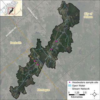 Figure XX Location of the headwater sampling site in the Nichols Creek catchment