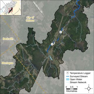 Figure XX Temperature logger locations in the Nichols Creek catchment