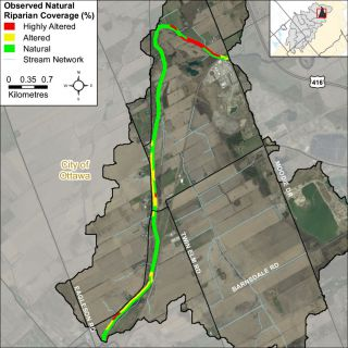 Figure XX Riparian buffer alterations within the Jock River Leamy Creek catchment
