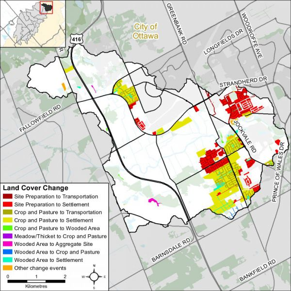 Figure xx Land cover change in the Barrhaven catchment (2014)