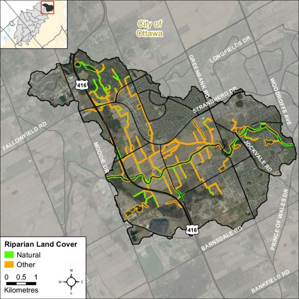 Figure xx Natural and other riparian land cover in the Barrhaven catchment
