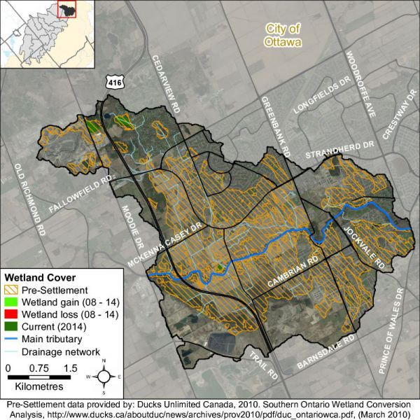 Figure xx Barrhaven catchment wetland cover