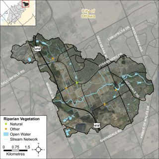 Figure XX Headwater feature riparian vegetation types in the Jock River Barrhaven catchment