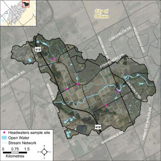 Figure XX Locations of the headwater sampling sites in the Jock River Barrhaven catchment
