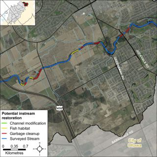 Figure XX Instream restoration opportunities along Jock River in the Barrhaven catchment