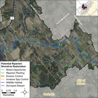 Figure XX Riparian restoration opportunities along Jock River in the Ashton - Dwyer Hill catchment