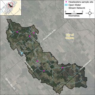 Figure XX Locations of the headwater sampling sites in the Hobbs Drain catchment
