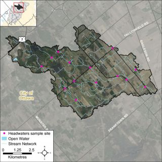 Figure XX Locations of the headwater sampling sites in the Flowing Creek catchment