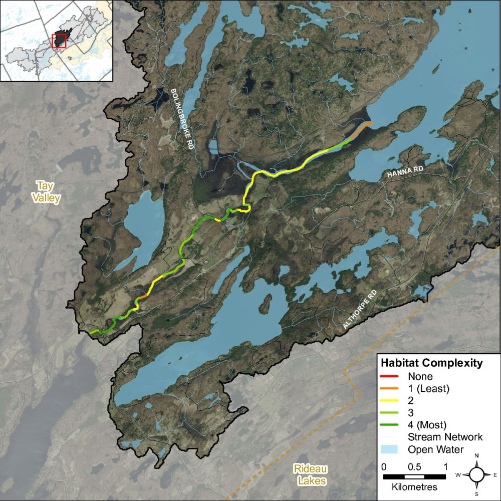 Figure XX Habitat complexity along the Tay River in the Christie Lake catchment
