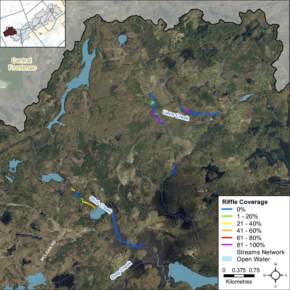 Figure XX Instream riffle habitat locations along Uens and Stub Creek