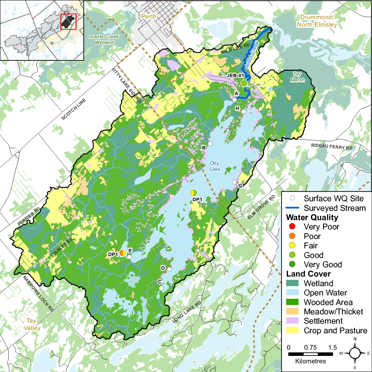 Figure 2 Water quality monitoring sites on Otty Lake and Jebbs Creek