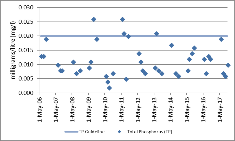 Figure 53 Total phosphorus sampling results at the deep point site (DP1) in Central Narrows, 2006-2017