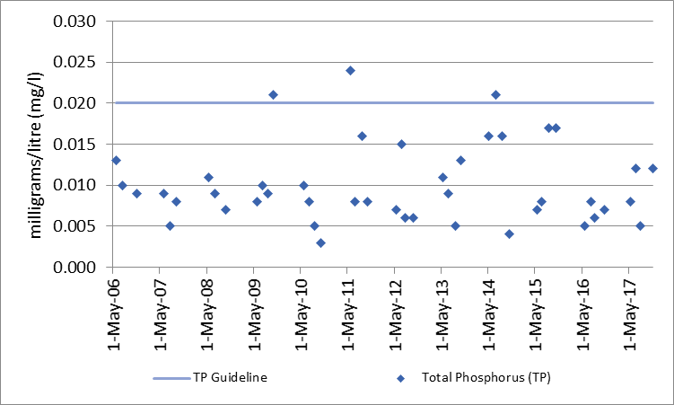 Figure 33 Total phosphorous sampling results at deep point site (DP1) on O'Brien Lake, 2006-2017
