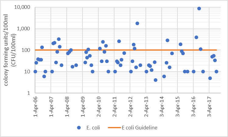 Figure 36  Distribution of E. coli counts in Uen Creek, 2006-2017