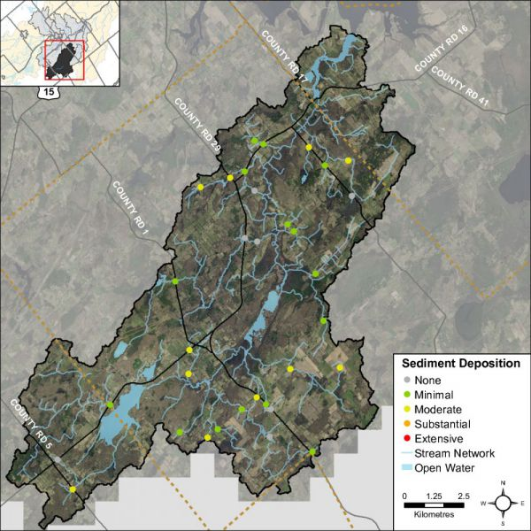 Figure 45 Headwater feature sediment deposition in the Irish Creek catchment