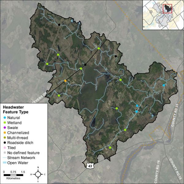 Figure 44 Headwater feature types in the Rideau Creek catchment