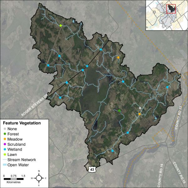 Figure 47 Headwater feature vegetation types in the Rideau Creek catchment