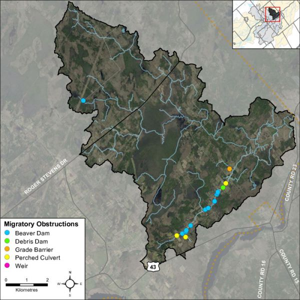 Figure 52 Migratory obstructions along Rideau Creek