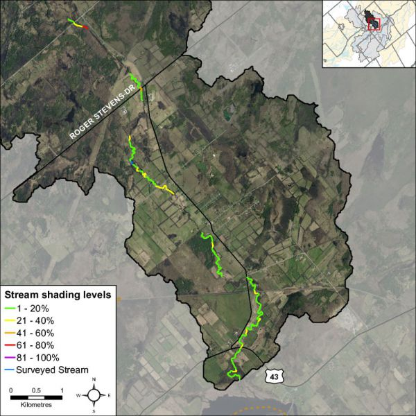 Figure 20 Stream shading along Rosedale Creek