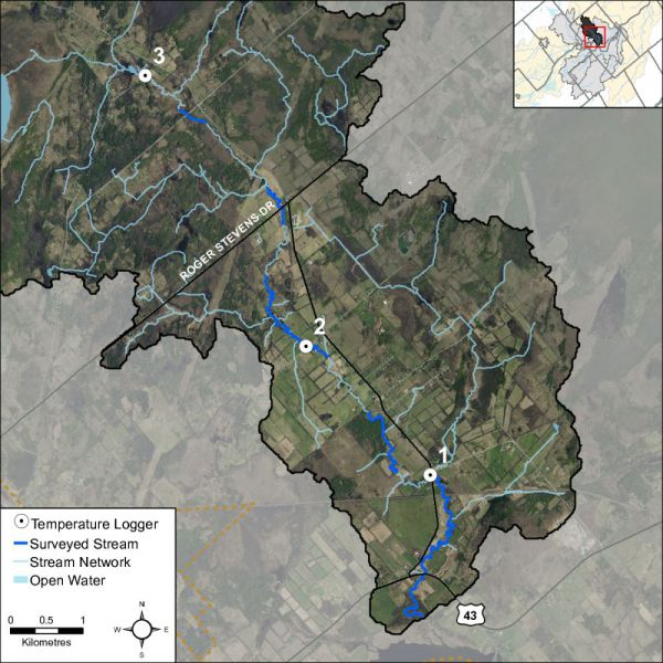 Figure 41 Temperature logger locations on Rosedale Creek