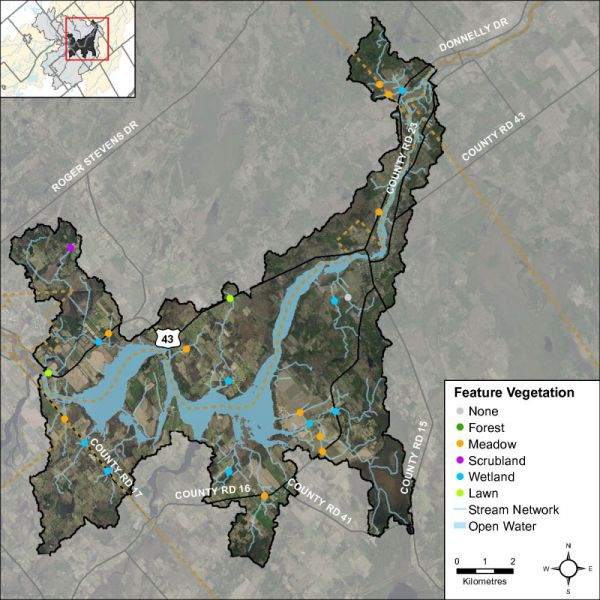 Figure 18 Headwater feature vegetation types in the Rideau – Merrickville catchment