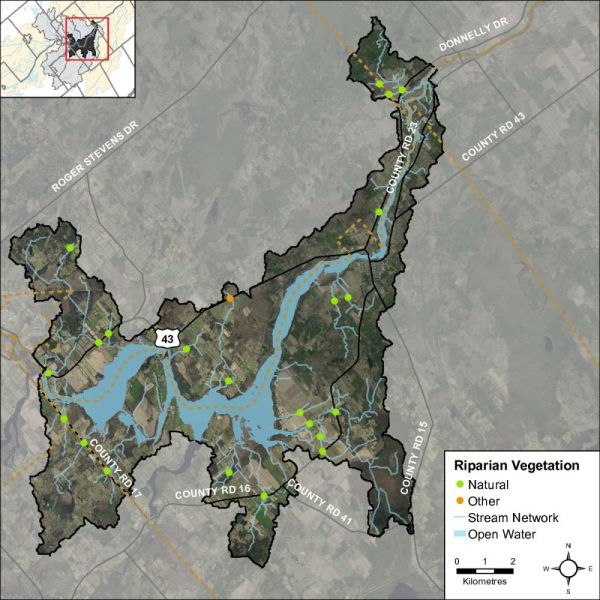 Figure 19 Headwater feature riparian vegetation types in the Rideau – Merrickville catchment